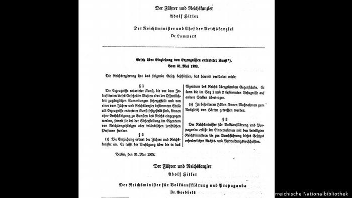Scanned image of the Degenerate Artworks Confiscation Law, 1938 (Photo: CC by Österreichische Nationalbibliothek )